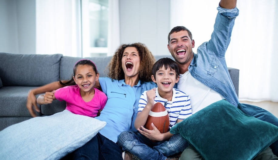 Family watching football