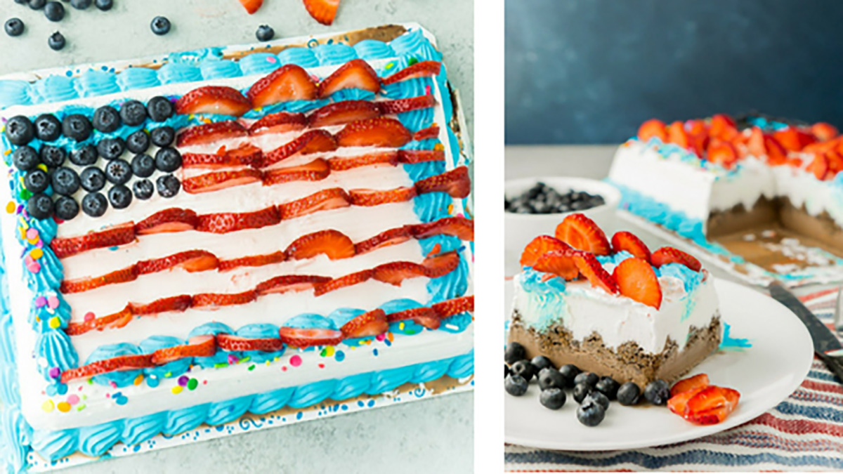Easy American Flag Ice Cream Cake by Party, Plan, Play