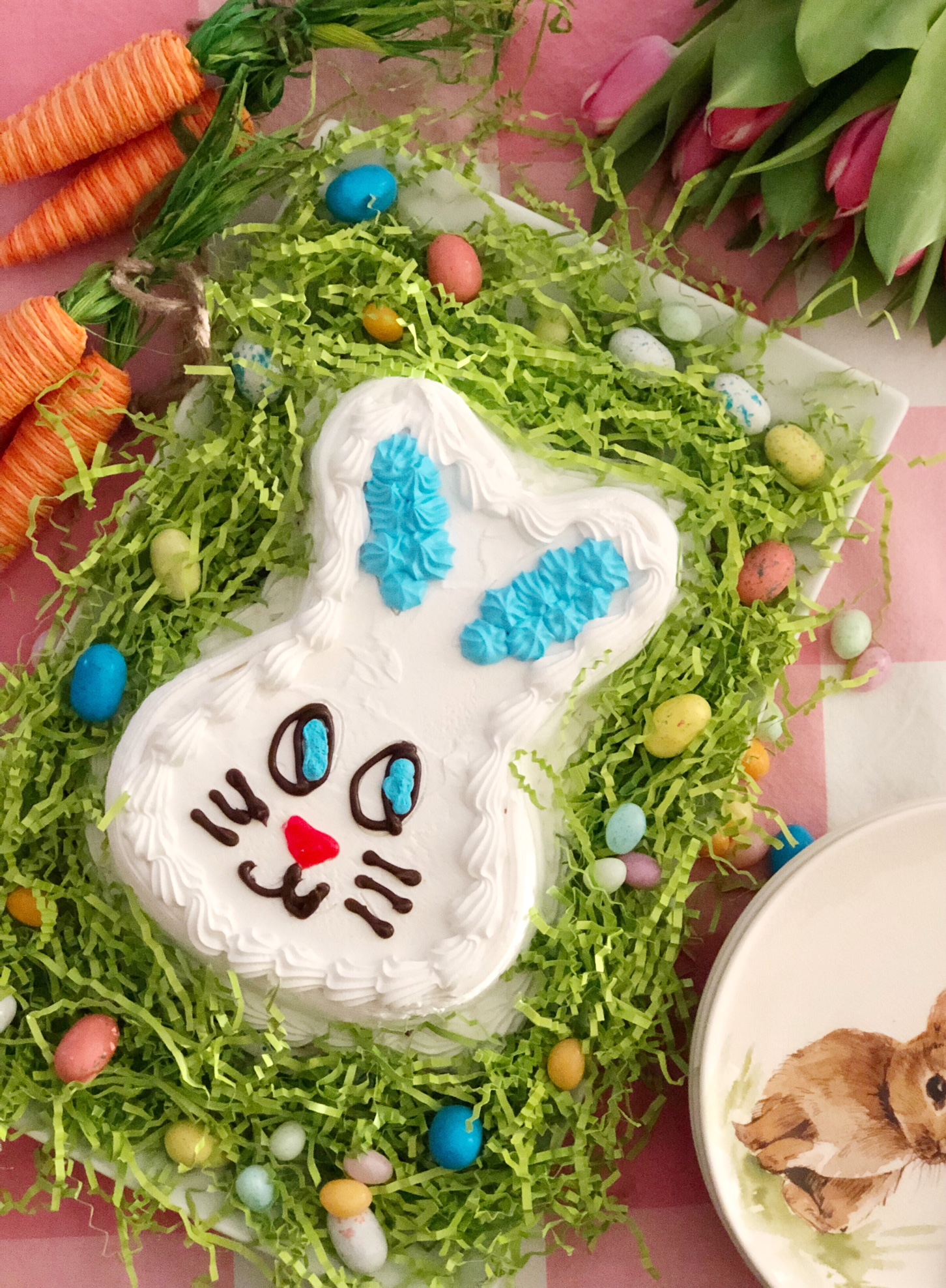 Carvel Bunny Ice Cream Cake on Easter Decorated Plate