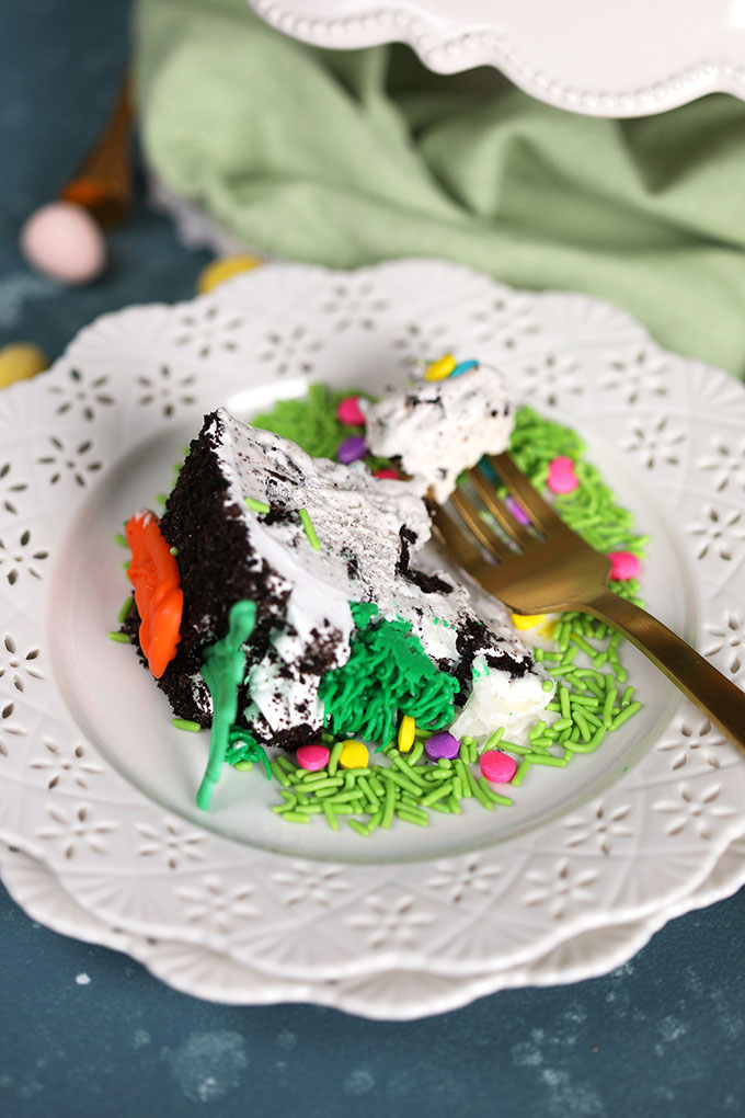 Easter Bunny OREO Ice Cream Cake Slice on Plate