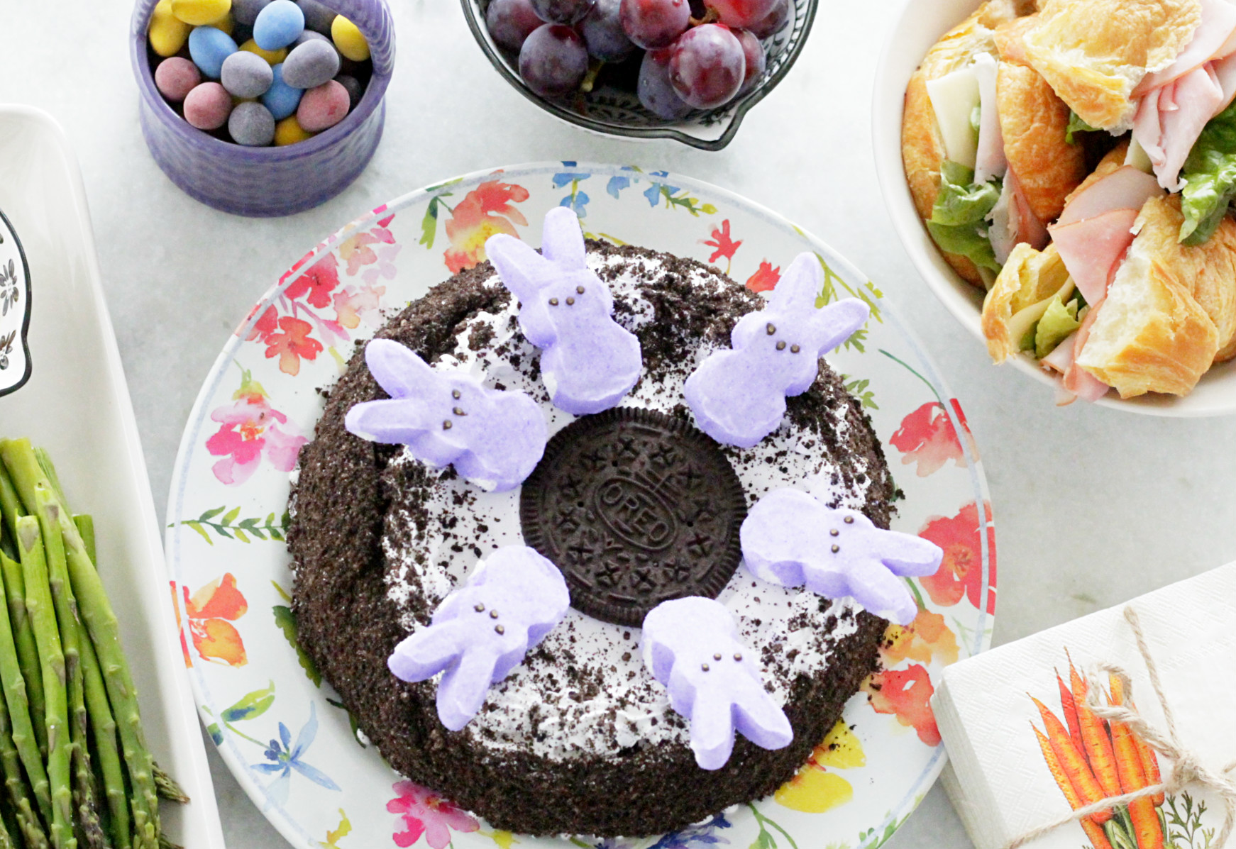Oreo Ice Cream Cake with Marshmallow Bunnies